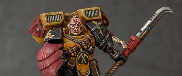 Brother Carras Aeson, 3rd Co. 2nd Sqd. An entry for Laurie Goulding's Scythes painting competition. An initiate recruited from Radnar, fighting through foes and Sothan born brothers' disdain...